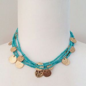 4/$20 🌸 Sugarfix Aqua Bead & Gold Charm Necklace